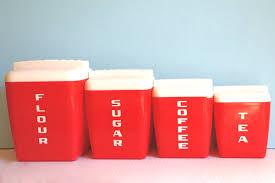burrite red canister set mid century nesting plastic set of four