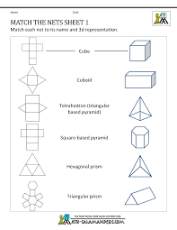 Free Printable Shapes Worksheets Math Nets Worksheets Match The Nets 1 Curriculum Ideas