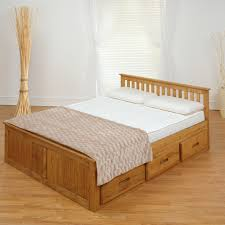 classic wood king size bed frame underbed drawer storage 100