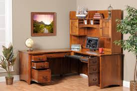 Natural Wood Furniture by Decorating Black Wooden Corner Desk With Hutch Matched With Chair