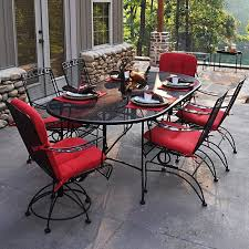 Wrought Iron Kitchen Table Furniture Wrought Iron Oval Dining Table With Chair Using Red