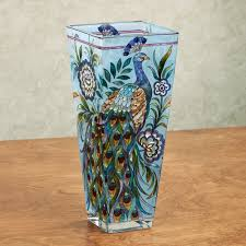 true colors peacock glass table vase