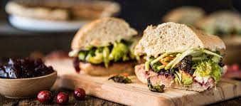 thanksgiving sandwich with roasted brussels and classic gravy