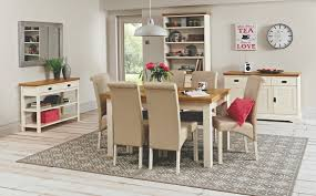 hampshire two tone 6 seater fixed dining table 6 upholstered