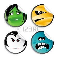 monster smileys halloween wicked stickers royalty free cliparts