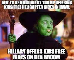 Broom Meme - halloween rides to match trumps helicopter on her broom
