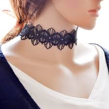 neck choker necklace images Black lace choker necklaces night qeen chokers pendants jpg