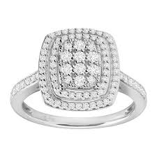 shaped engagement ring 1 2 ct diamond cushion shaped engagement ring in 10k white gold