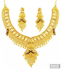 bridal gold sets 22k exclusive peacock bridal set ajst57659 22k yellow gold