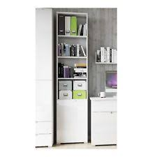 jaffo tall narrow bookcase storage cupboard with white gloss door