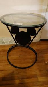 mickey mouse end table metal frame mickey mouse table w glass top wichita estate of