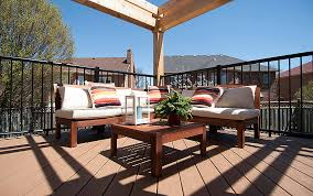 Affordable Chic Outdoor Decor Ideas by Decorating Chic Wooden Brown Deck With Standard Trex Decking Cost