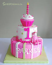 baby two tier birhtday cakes is another view of the cake