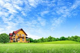 landscape house house on green field landscape with blue sky stock photo picture