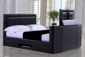 Kingsize Tv Bed Frame Heartlands Civic Faux Leather Kingsize Tv Bed Frame Black White