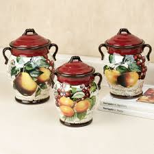 fruit kitchen decor touch of class botanical fruit kitchen canister set merlot set of three
