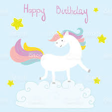 cute unicorn print for kids happy birthday card stock vector art