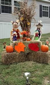outside fall decor corn stalks hay fodder shock fall decor