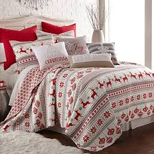 Silent Night Duvet Silent Night Quilt Set Red Grey White Cotton Christmas Holiday