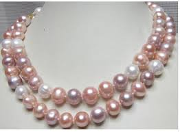 wholesale pearls necklace images Hot huge beautiful south sea 11 12mm pink purple white pearl jpg