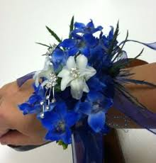 blue orchid corsage blue and white angel wrist corsage in ga flower jazz