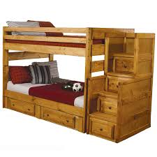 Wooden Bunk Bed With Stairs Solid Wood Wash Oak Stairs Chest 2 Storage Drawer