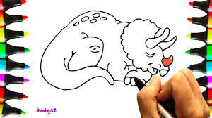 how to draw cute triceratops dinosaur coloring pages for kids