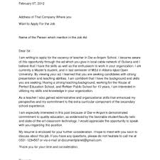 cover letter applying for teaching position cover example
