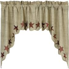 abilene star scalloped lined swag curtains u2013 primitive star quilt shop