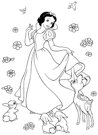 snow white coloring pages with forest animals coloringstar