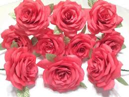 Fake Roses One Dozen Red Roses Paper Roses For First Wedding Anniversary