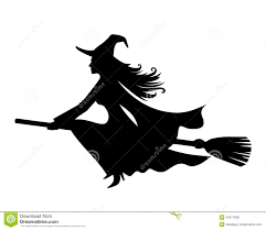 halloween background silhouettes witch on a broomstick vector black silhouette stock vector