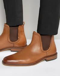 mens tan motorcycle boots dune chelsea boots tan leather in brown for men lyst