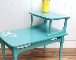 Aqua Side Table Upcycled Side Table Etsy