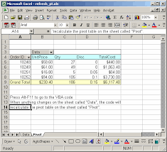 pivot table exle download ms excel 2003 automatically refresh pivot table when data in a