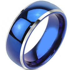 blue titanium wedding band coititanium handmade titanium jewelry