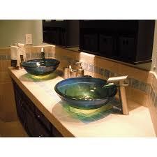 blue glass vessel sink novatto mare glass vessel sink blue yellow green walmart com