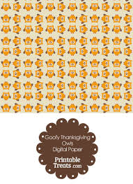 goofy thanksgiving owls digital scrapbook paper printable treats