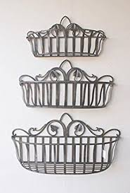 amazon com tuscan wrought iron hand forged wall planter baskets