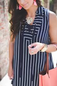 large monogram necklace stripe lace up dress a southern drawl
