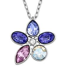 swarovski crystal flower necklace images Swarovski rhodiumplated purple crystal flower pendant necklace in jpeg