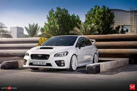 white subaru hatchback vossen wheels subaru sti vossen flow formed series vfs 2