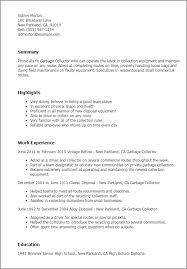 Sample Resume For Driver by Professional Garbage Collector Templates To Showcase Your Talent