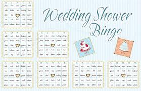 wedding words for bingo shower bingo