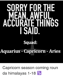 Capricorn Meme - sorry for the mean awful accurate things said squad aquarius