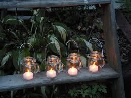 Mason Jar Lights Outdoor by Set Of 4 Mini Mason Jar Mugs With Tea Lights Outdoor Lighting