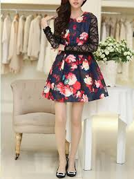 red black and pink lace long sleeve fit u0026 flare floral above knee