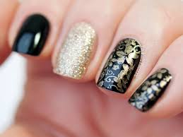black and gold stamping nail art with born pretty store