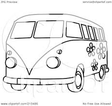 hippie van drawing royalty free rf clipart illustration of a black and white