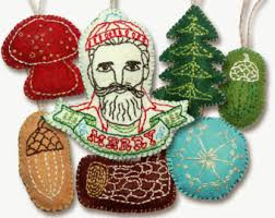 embroidered christmas retro felt christmas ornaments pattern set embroidered digital